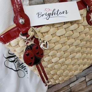 Brighton🐞 Ladybug wicker straw tote red patent
